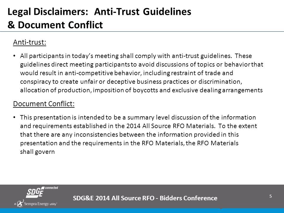 5 Legal Disclaimers: Anti-Trust Guidelines & Document Conflict Anti-trust: All participants in today's meeting shall comply with anti-trust guidelines
