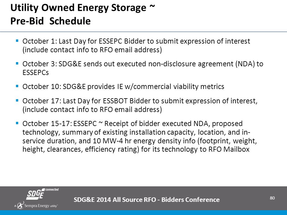 80 Utility Owned Energy Storage ~ Pre-Bid Schedule SDG&E 2014 All Source RFO - Bidders Conference  October 1: Last Day for ESSEPC Bidder to submit ex
