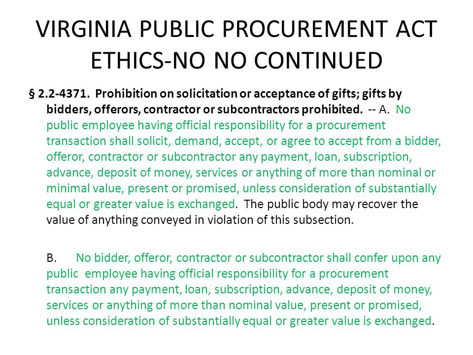 VIRGINIA PUBLIC PROCUREMENT ACT ETHICS-NO NO CONTINUED § 2.2-4371.