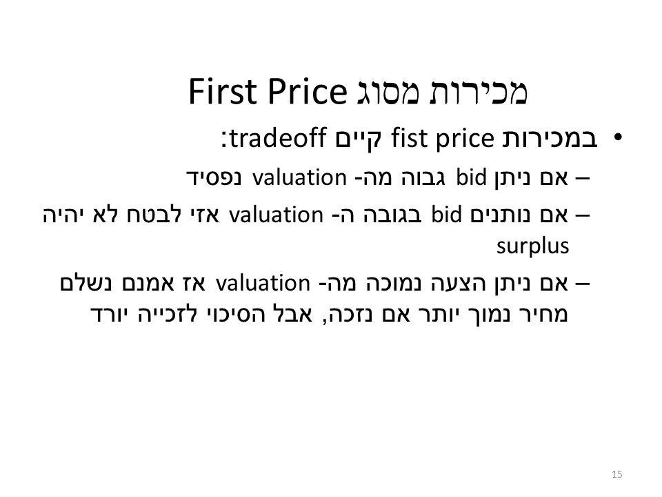 15 First Price מכירות מסוג במכירות fist price קיים tradeoff: –אם ניתן bid גבוה מה - valuation נפסיד –אם נותנים bid בגובה ה - valuation אזי לבטח לא יהיה surplus –אם ניתן הצעה נמוכה מה - valuation אז אמנם נשלם מחיר נמוך יותר אם נזכה, אבל הסיכוי לזכייה יורד
