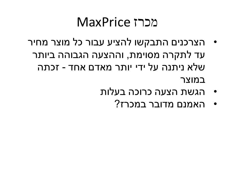 מכרז MaxPrice הצרכנים התבקשו להציע עבור כל מוצר מחיר עד לתקרה מסוימת, וההצעה הגבוהה ביותר שלא ניתנה על ידי יותר מאדם אחד - זכתה במוצר הגשת הצעה כרוכה