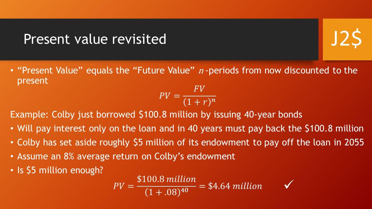 Present value revisited J2$