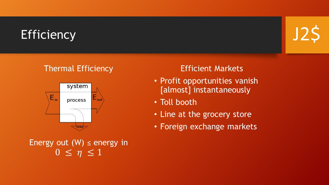 Efficiency Efficient Markets Profit opportunities vanish [almost] instantaneously Toll booth Line at the grocery store Foreign exchange markets J2$
