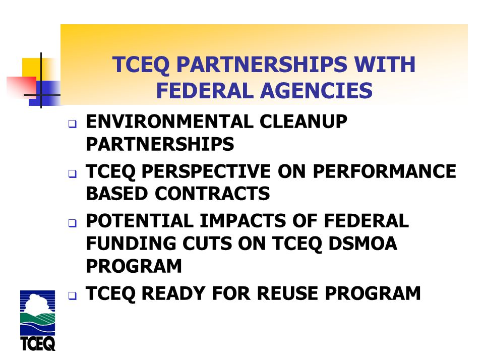 TEXAS DSMOA/CA PROGRAM GOALS OF THE DSMOA PROGRAM Expedite the Cleanup Process Ensure DoD Cleanups Comply with State Regulations; and, Improve Coordination and Cooperation between State and DOD