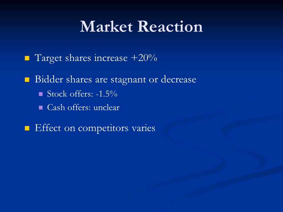 Market Reaction Target shares increase +20% Bidder shares are stagnant or decrease Stock offers: -1.5% Cash offers: unclear Effect on competitors varies
