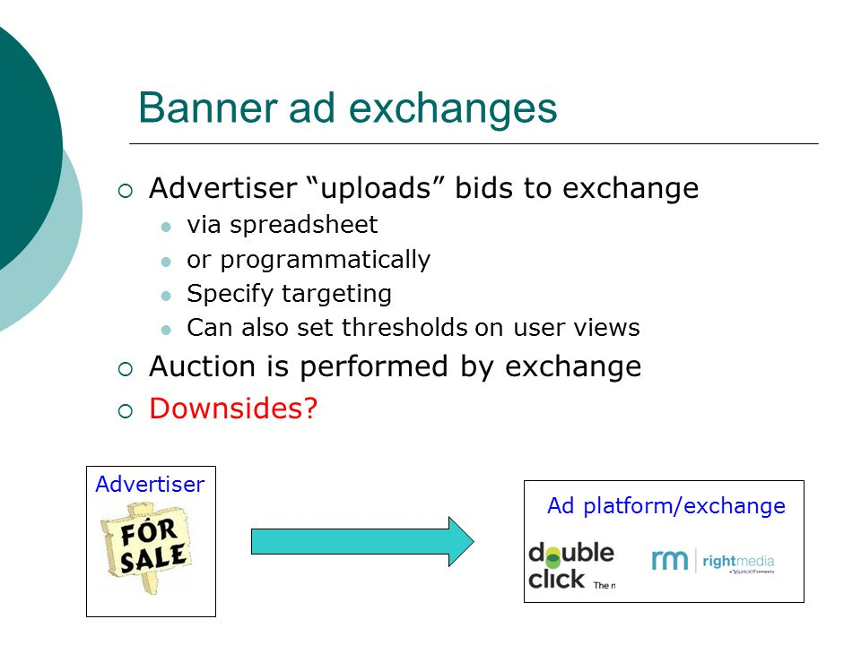 Banner ad exchanges  Advertiser uploads bids to exchange via spreadsheet or programmatically Specify targeting Can also set thresholds on user views  Auction is performed by exchange  Downsides.
