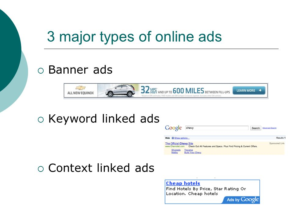 Banner ads standardized set of sizes