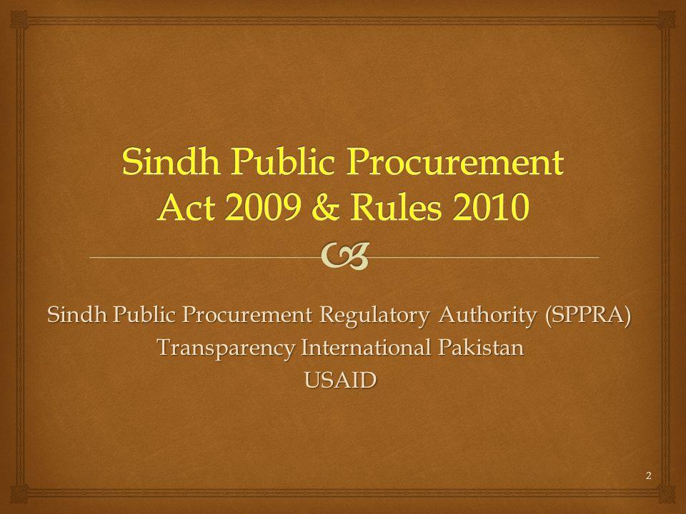 Sindh Public Procurement Regulatory Authority (SPPRA) Transparency International Pakistan USAID 2