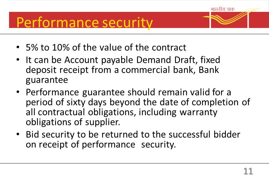 Bid security Bid Security (EMD): Should be between 2% to 5% of the estimated value of the goods to be procured. To be furnished along with the bid. To