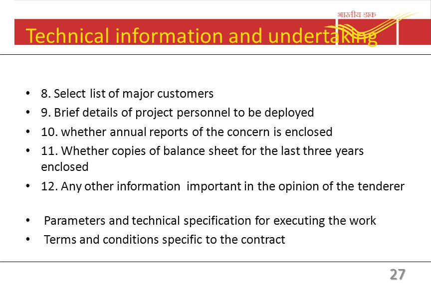 Technical information and undertaking 1. Name of the tenderer /concern 2.