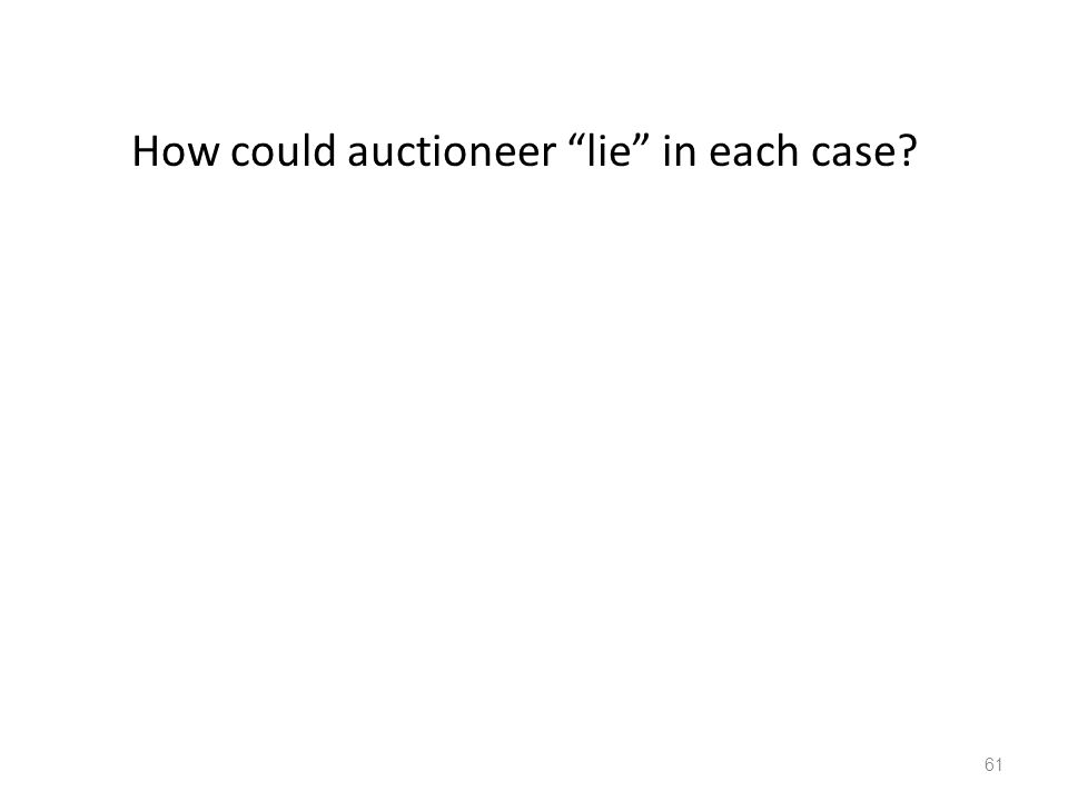 "How could auctioneer ""lie"" in each case? 61"