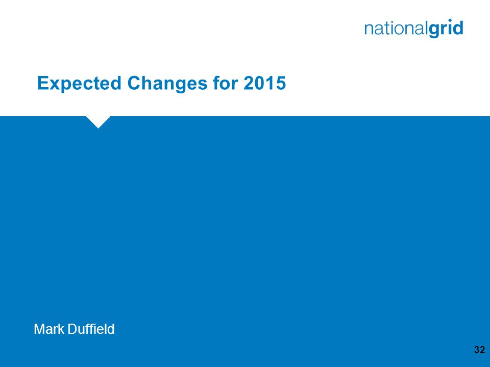 Expected Changes for 2015 32 Mark Duffield