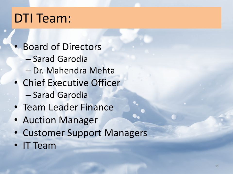 DTI Team: Board of Directors – Sarad Garodia – Dr.
