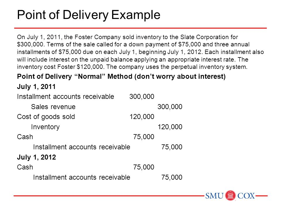 Point of Delivery Example On July 1, 2011, the Foster Company sold inventory to the Slate Corporation for $300,000.