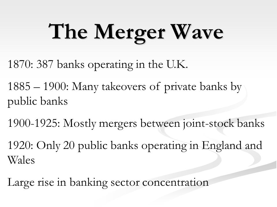 The Merger Wave 1870: 387 banks operating in the U.K.