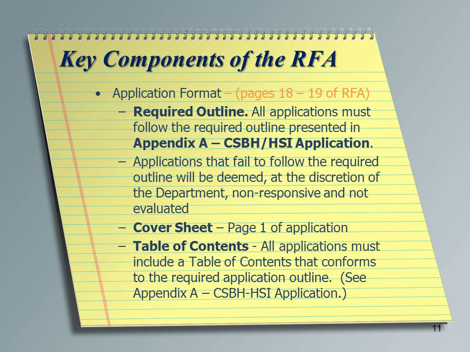 Key Components of the RFA Application Format – (pages 18 – 19 of RFA) –Required Outline.
