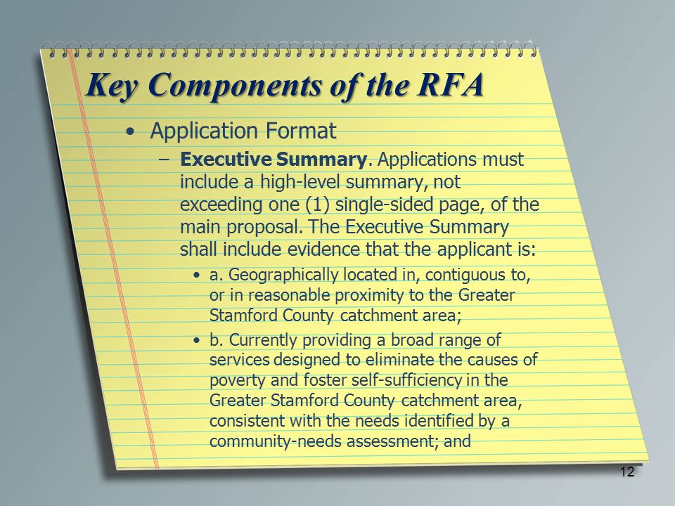 Key Components of the RFA Application Format –Executive Summary.