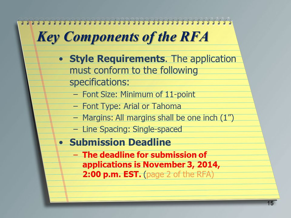 Key Components of the RFA Style Requirements.