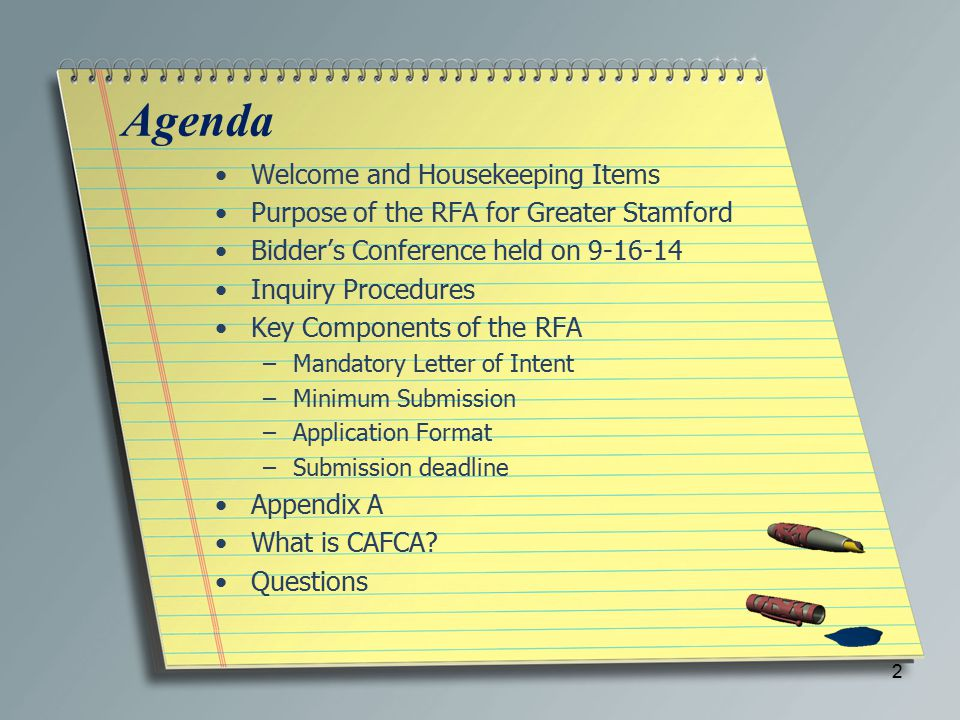 Key Components of the RFA Application Format –Executive Summary continued: c.