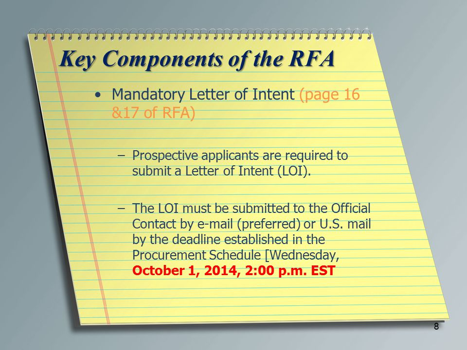 Key Components of the RFA Mandatory Letter of Intent (page 16 &17 of RFA) –Prospective applicants are required to submit a Letter of Intent (LOI).