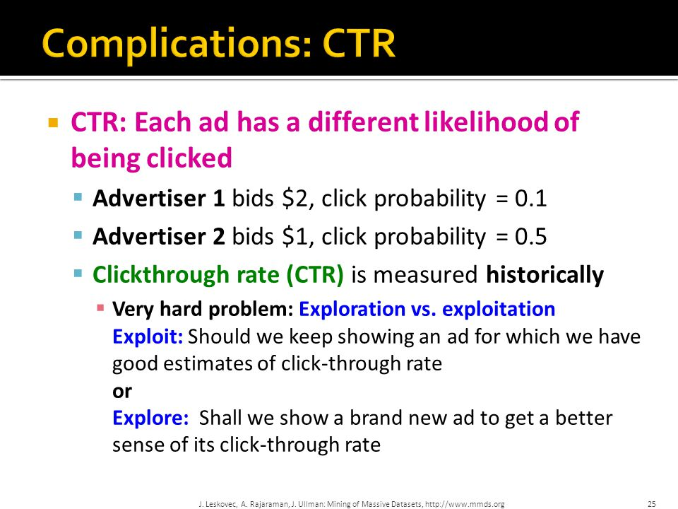  CTR: Each ad has a different likelihood of being clicked  Advertiser 1 bids $2, click probability = 0.1  Advertiser 2 bids $1, click probability =