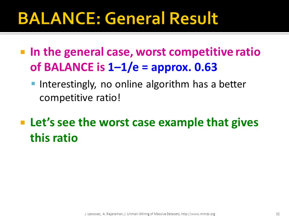  In the general case, worst competitive ratio of BALANCE is 1–1/e = approx. 0.63  Interestingly, no online algorithm has a better competitive ratio!