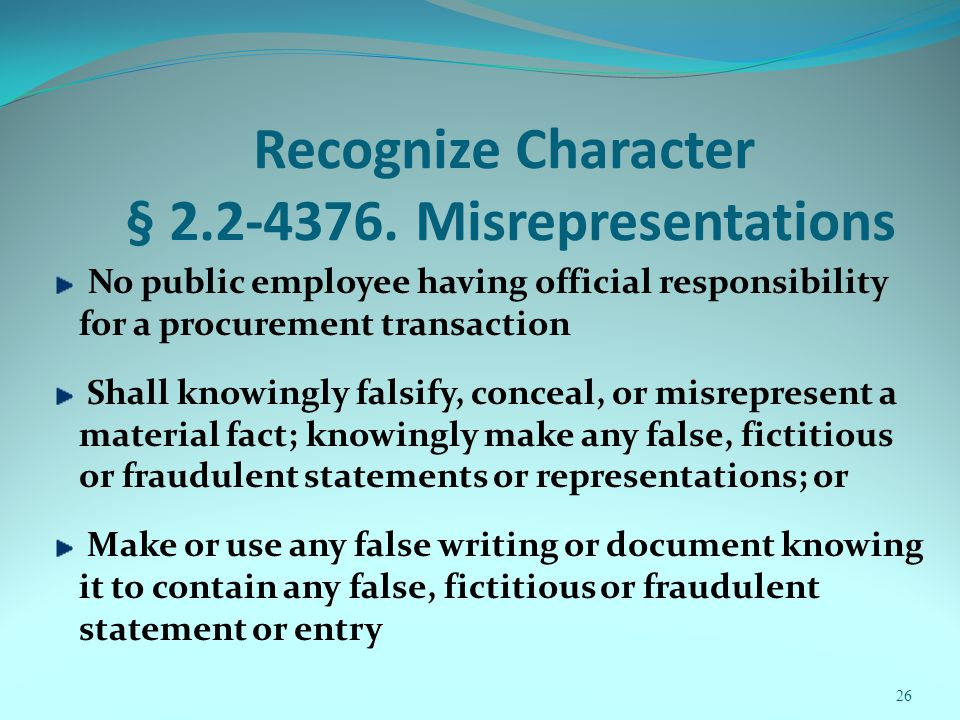 Recognize Character § 2.2-4376.