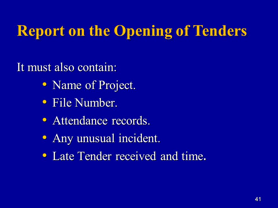 Report on the Opening of Tenders It must also contain: Name of Project.