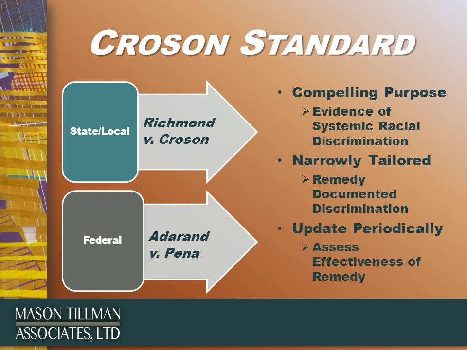C ROSON S TANDARD Richmond v. Croson State/Local Adarand v.