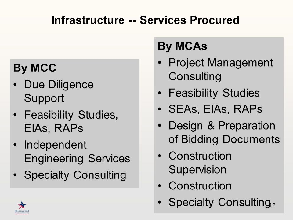 Infrastructure -- Services Procured By MCC Due Diligence Support Feasibility Studies, EIAs, RAPs Independent Engineering Services Specialty Consulting By MCAs Project Management Consulting Feasibility Studies SEAs, EIAs, RAPs Design & Preparation of Bidding Documents Construction Supervision Construction Specialty Consulting 12
