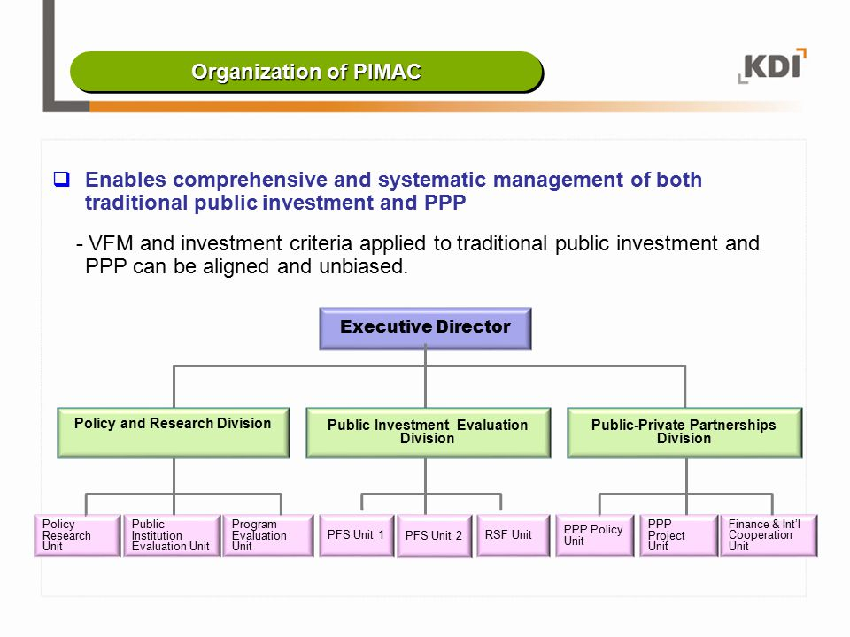 Enables comprehensive and systematic management of both traditional public investment and PPP - VFM and investment criteria applied to traditional p