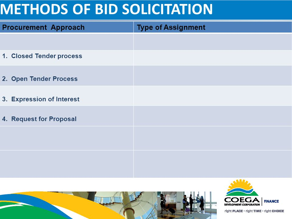 METHODS OF BID SOLICITATION Procurement ApproachType of Assignment 1. Closed Tender process 2. Open Tender Process 3. Expression of Interest 4. Reques
