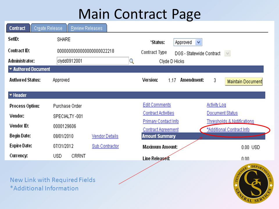 Main Contract Page New Link with Required Fields *Additional Information