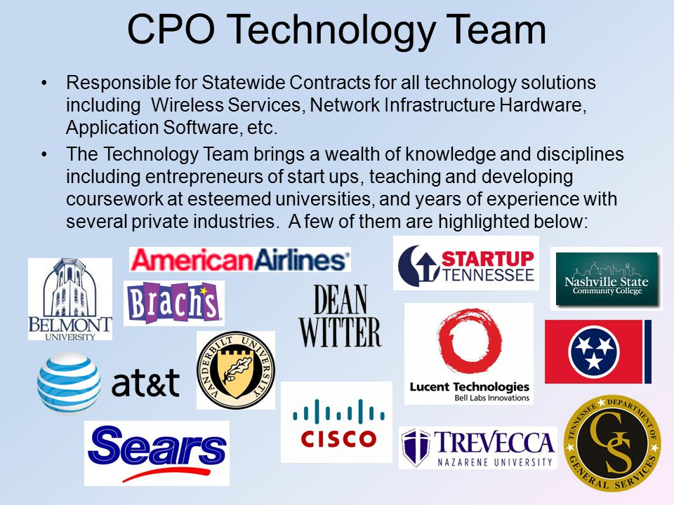 Responsible for Statewide Contracts for all technology solutions including Wireless Services, Network Infrastructure Hardware, Application Software, etc.