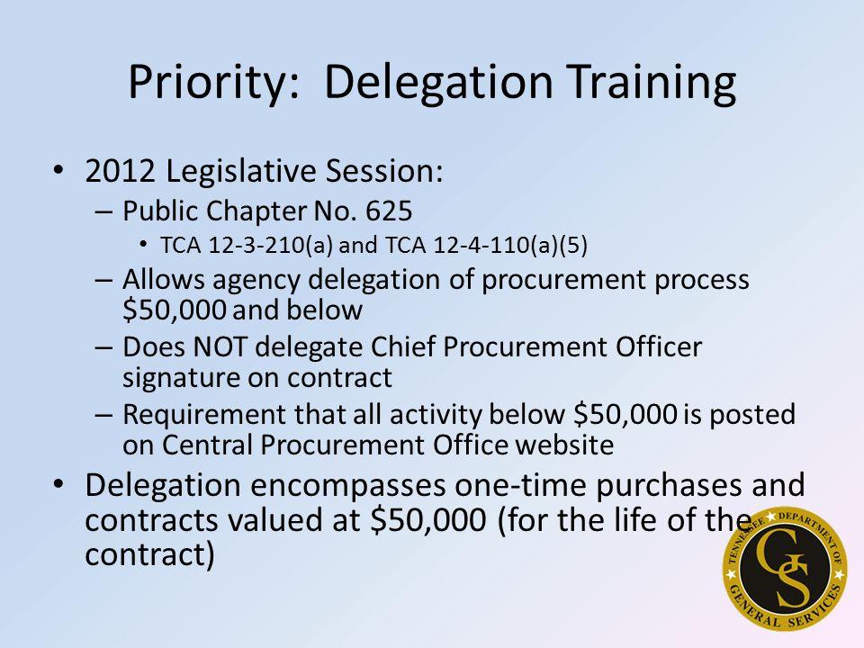 Priority: Delegation Training 2012 Legislative Session: – Public Chapter No.