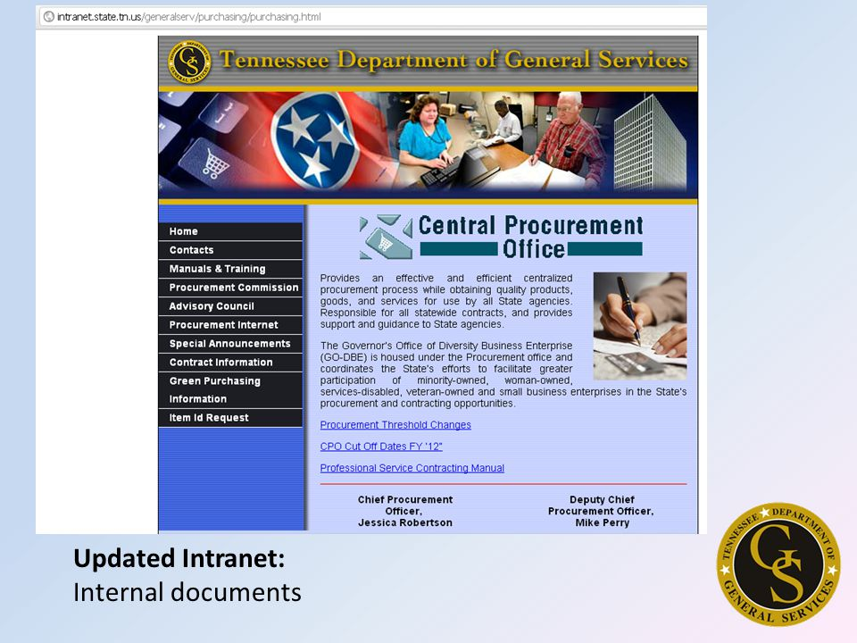 Updated Intranet: Internal documents