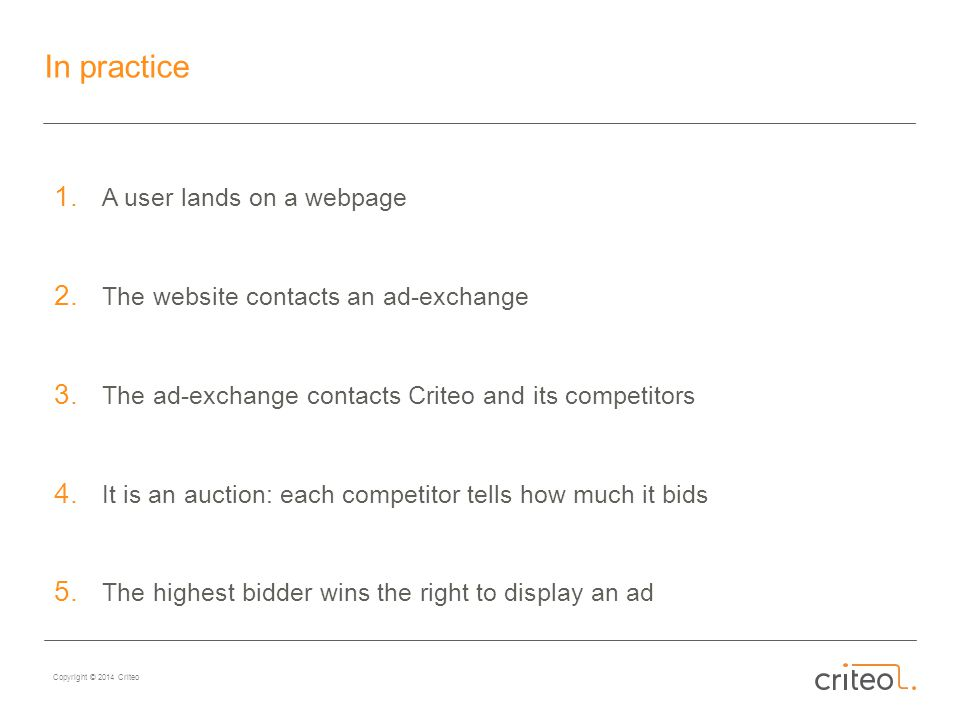 Copyright © 2014 Criteo In practice 1.A user lands on a webpage 2.