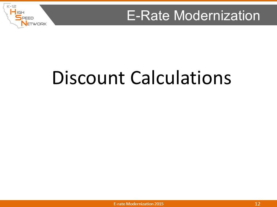 Discount Calculations E-Rate Modernization E-rate Modernization 2015 12