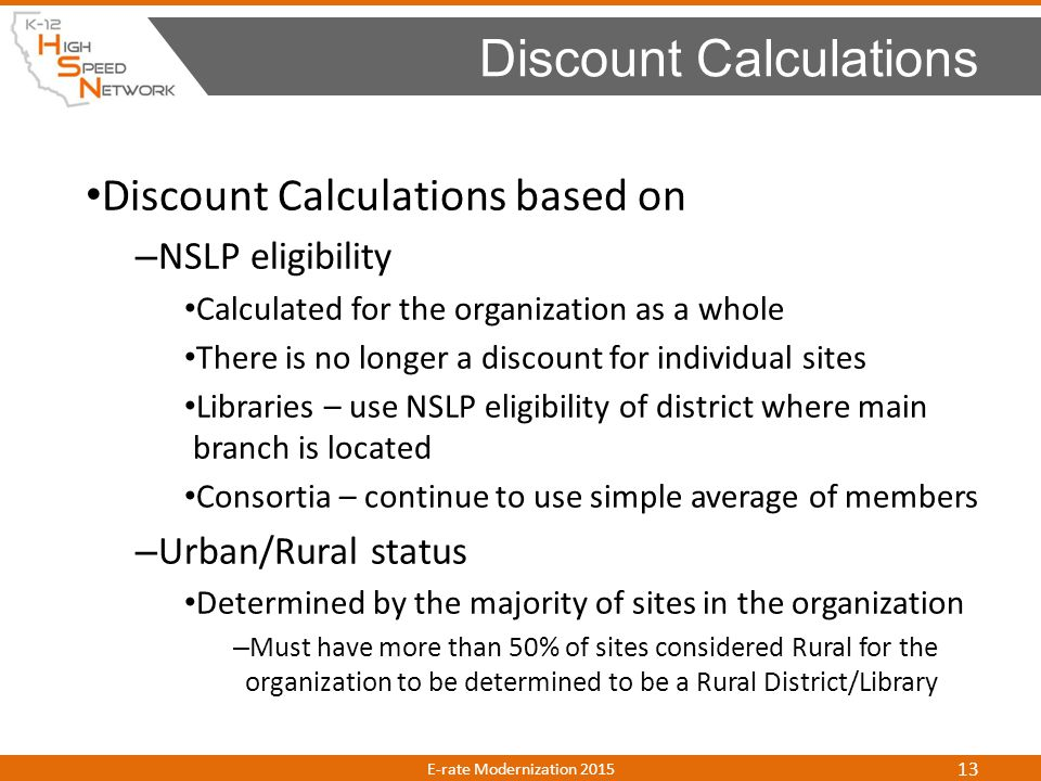 Discount Calculations based on – NSLP eligibility Calculated for the organization as a whole There is no longer a discount for individual sites Librar