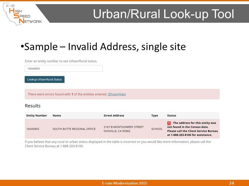 Sample – Invalid Address, single site Urban/Rural Look-up Tool E-rate Modernization 2015 24