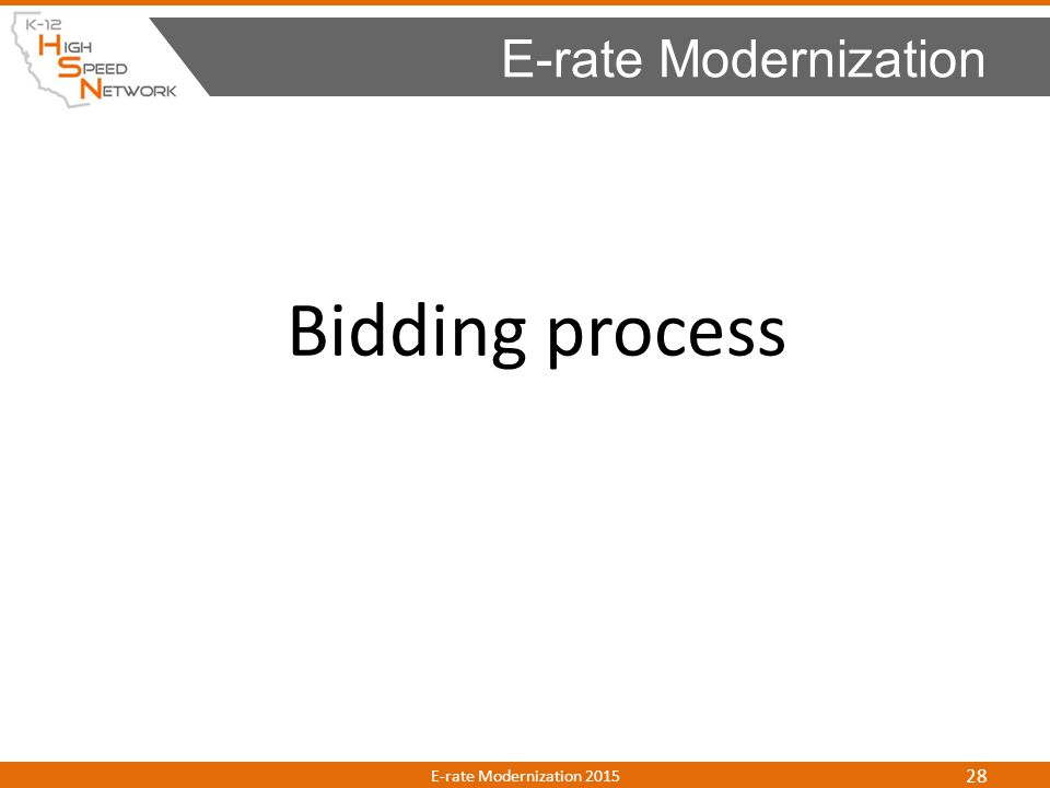 Bidding process E-rate Modernization E-rate Modernization 2015 28