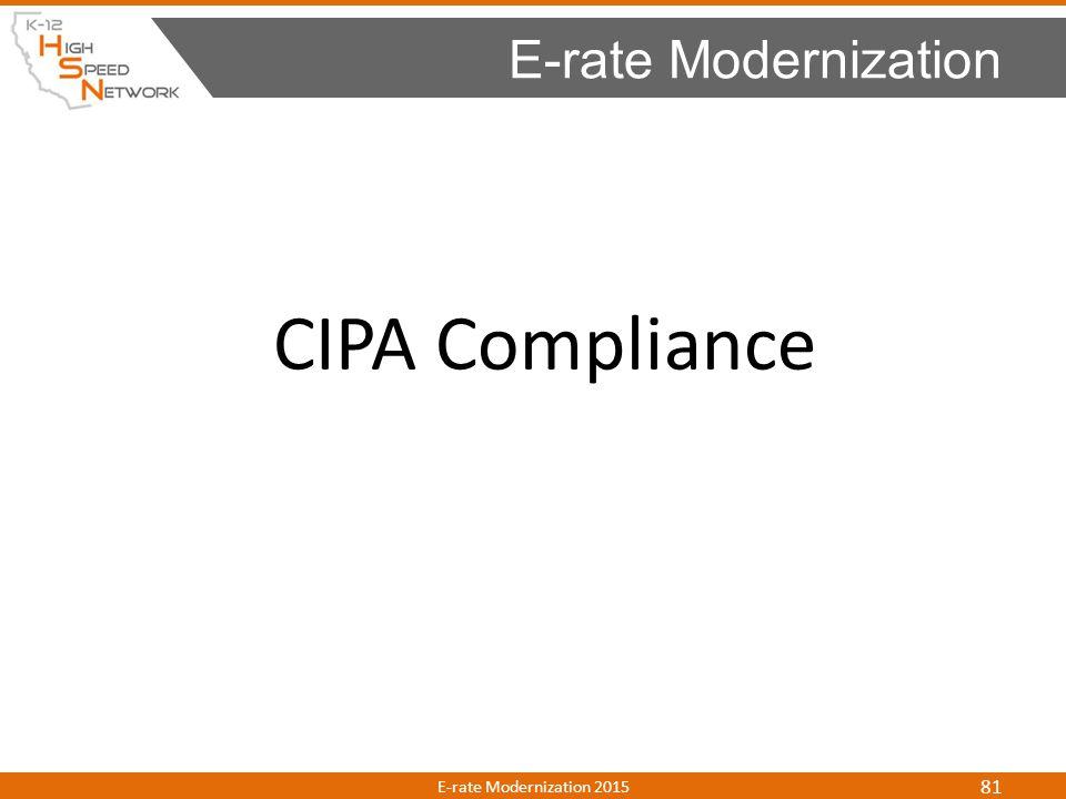 CIPA Compliance E-rate Modernization E-rate Modernization 2015 81