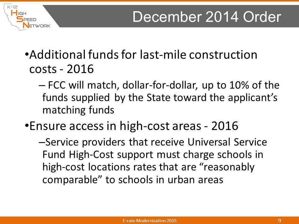Category 2 Budget E-rate Modernization E-rate Modernization 2015 40