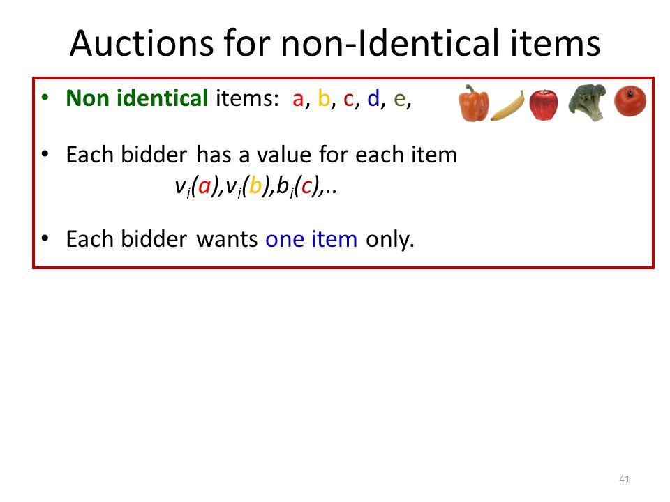 Non identical items: a, b, c, d, e, Each bidder has a value for each item v i (a),v i (b),b i (c),..