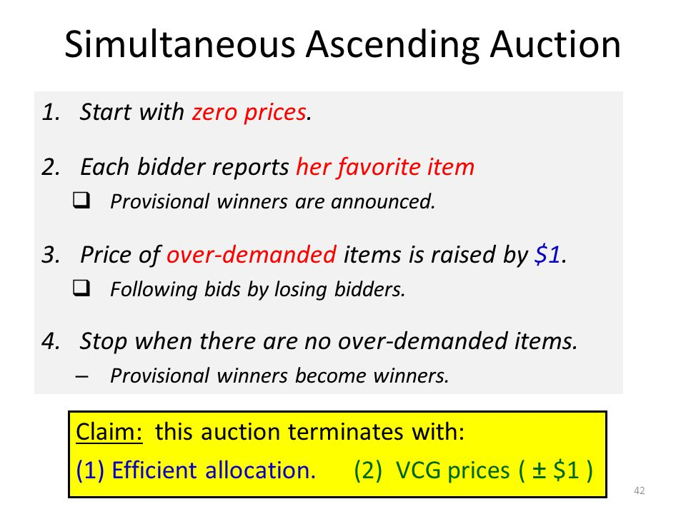 Simultaneous Ascending Auction 1.Start with zero prices.