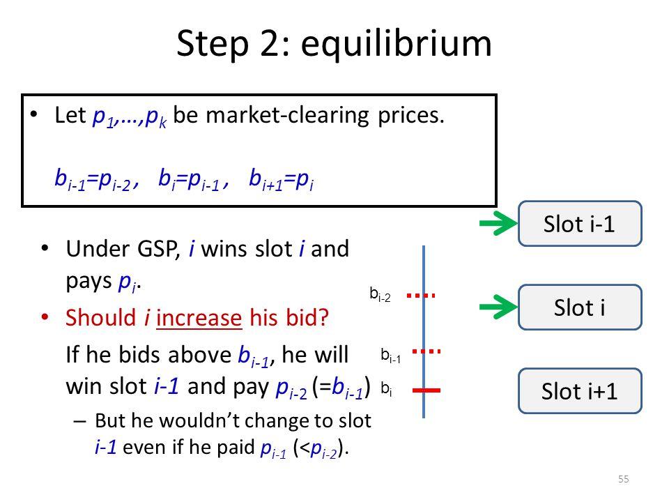 Step 2: equilibrium 55 Under GSP, i wins slot i and pays p i.