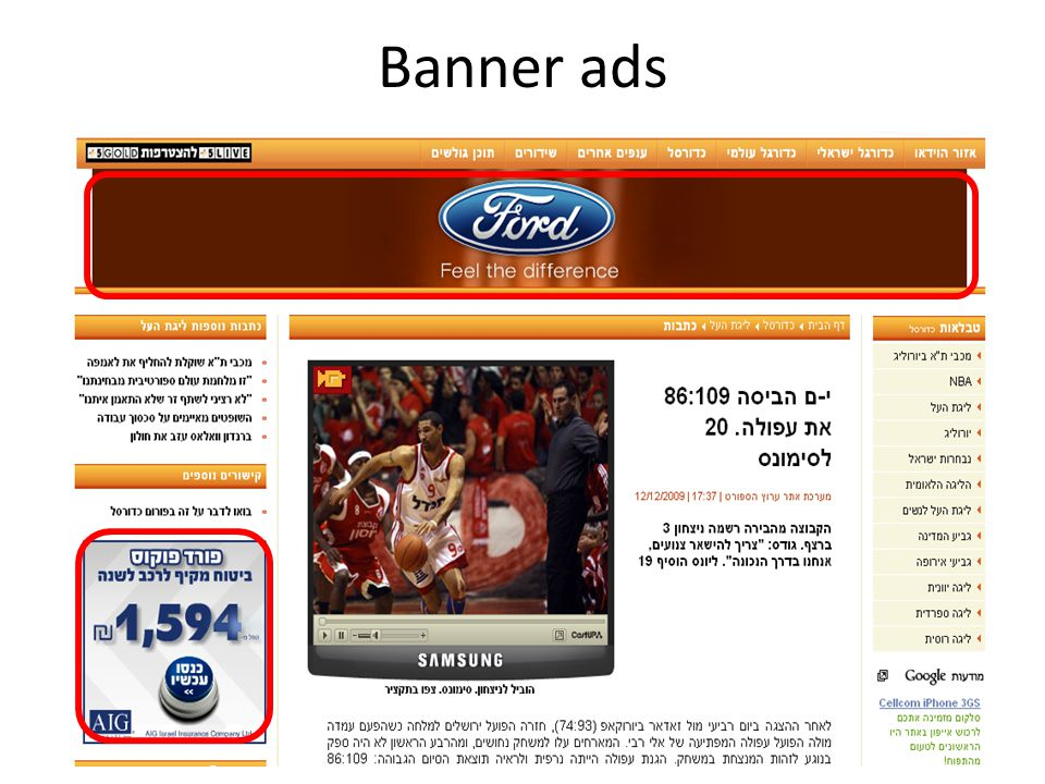 Banner ads 1.General: 1.Examples: banner, sponserd search, video, videa games, adsense, in social networks 2.Some numbers 3.advantages over classic ads 4.Ppi,ppc,ppconversion 2.Sponsored search: 1.Some history 2.Definitions: ctr, conversion-rate 3.GSP- definition, non truthfulness.