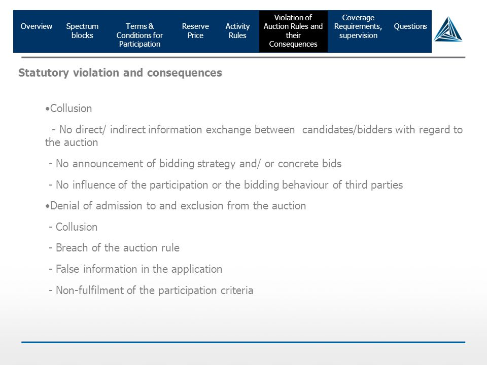 OverviewTerms & Conditions for Participation Reserve Price Activity Rules Spectrum blocks Coverage Requirements, supervision Violation of Auction Rule