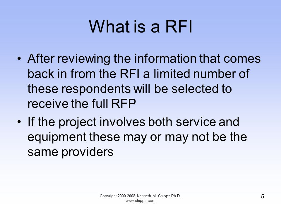 What is a RFQ Unlike a RFP a RFQ is used when the company knows what it wants All they need in this case is a confirmed price The RFQ is used as a shopping device to determine who has the best price or in some cases the best value, even if the price is higher Copyright 2000-2008 Kenneth M.