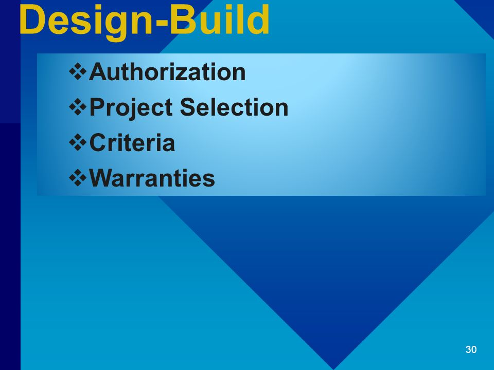 Design-Build  Authorization  Project Selection  Criteria  Warranties 30